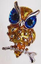 Vintage Inspired Owl Brooch Pin silver Tone Enamel Black rhinestone eyes #3
