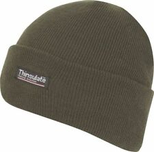 KNITTED GREEN THERMAL THINSULATE LINED SKI SKULL CAP CUFFED WINTER BEANIE HAT