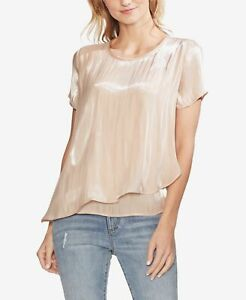 Vince Camuto Women's Blouse Peach Pink Size XL Iridescent Asymmetrical $89 #402