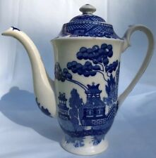 Antique Chinese motif blue and white double birds scenic teapot