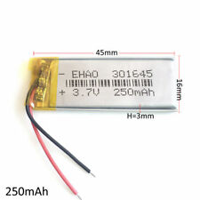 3.7V 250mAh Rechargeable Lipo Battery For Mp3 Bluetooth watches headphone 301645