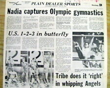 2 1976 hdlne newspapers NADIA COMANECI wins Womens OLYMPIC gymnastic GOLD MEDALS