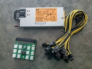 HP 750W Mining Server Power Supply PSU w/ autosync breakout board 12 pcie cables