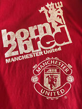 Manchester United Red Born 2 Bred Official Long Sleeve Shirt L Soccer Football