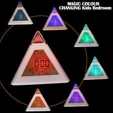 FUN COLOUR CHANGING Kids Bedroom Bedside NightLight Clock☆Gift Children P1 UK