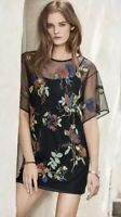 Next Black Red Green Floral Embroidered Sheer Mesh T Shirt Dress 12 - B53
