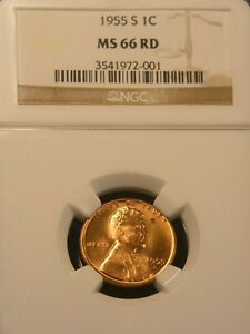 1955 S Lincoln Wheat Cent NGC MS66RD Bright Red Superb Luster PQ #G701