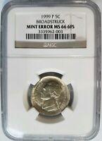 1999 P 5C Jefferson Nickel NGC MS 66 Broadstruck 6FS Full Steps FS Mint Error