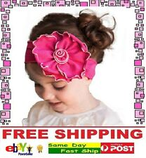 Hot Pink Cotton Flower Bow Headband Hairband Girls Baby Infant Toddler Children