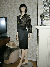 10 ANISE BLACK 2 IN 1 DRESS CLASSY SILK MIX TOP SATIN SKIRT PENCIL DRESS XMAS