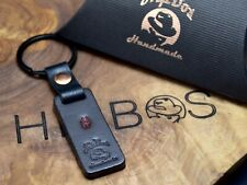 HipBos Handmade Rectangle Leather Keyring Key Fob with Personalised Symbol