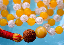 Yellow Jade, Crystal Quartz & Rudraksh Hand Knotted Mantra Mala Beads Necklace -