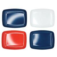 """Vtg Kenro Set Of 4 Melamine Snack Tray Plates Rectangle 5""""x6.5"""" Blue Red White"""