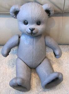 "Vintage 13"" Poseable Ceramic/Porcelain Jointed/Movable Gray Teddy Bear Nursey"