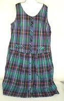 VTG Womens Dress Plaid Limelight Sleeveless shift button front NOS 20W Plus Size