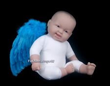 Aqua Blue costume feather angel wings for 6-18mo baby tots rio blu macaw props