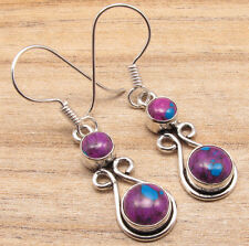 PURPLE COPPER TURQUOISE 2 Gemstone Earrings ! Silver Plated NEW Jewelry