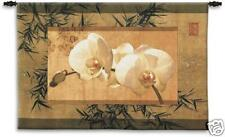39x26 BAMBOO & ORCHIDS Floral Tapestry Wall Hanging