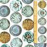 27mm Vintage Czech Glass BLUE Mirror Back Shankless No Shank Buttons Cabochons 5