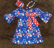 girls toddler childrens dress 4th of july patriotic chunky bead bow stars sz 2t