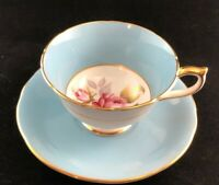 TEACUP AYNSLEY - ENGLAND, BONE CHINA Light Blue, Footed, Wide Mouth