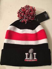 NFL Super Bowl LI 2017 47 Womens Black Red Striped Cuffed Knit Beanie Hat Pom OS