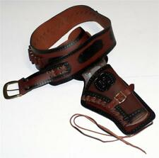 WESTERN COWBOY Old West Pistol Gun Brown Black Leather BELT HOLSTER L 36-37 New