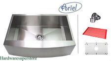 """30"""" Stainless Steel CURVE Front Farm Apron Kitchen sink Zero Radius Ariel"""