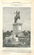 Statue du roi Philippe IV à Madrid Espagne Dessin de Yann' Dargent GRAVURE 1871