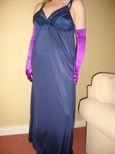 Navy Blue Silky Lacy Long Formal Length Bra Slip or Nightgown L-XXL BNWT