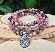 Mala Kette 108 Perlen Lotus Ganesha Rhodonit Gebetskette