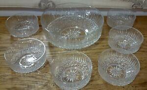 Vintage glass salad bowl set 7 pcs starburst clear salad dessert Kitchen Dining