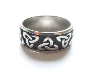 Mens Celtic Knot Ring Stainless Steel 316L Black Silver Norse Viking Thumb Band