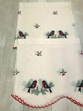 2 x Vintage Xmas christmas Curtain Valance bullfinch