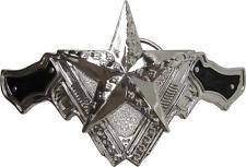67085 Black & Silver Nautical Stars Guns Pistols Tattoo Punk Metal Belt Buckle