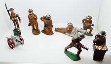 Antique / Vintage 6 PC Toy Soldier Lot Rubber / Metal / Manoil / Composition