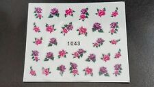 Nail Art Water Transfer Decal Stickers Purple Pink Flowers 1043