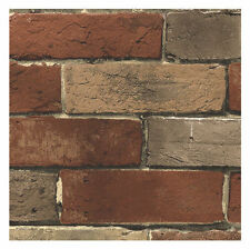 Wallpaper Faux Smooth Rust Tuscan Brick Wall BG21584, Looks Real Up! 11 yd