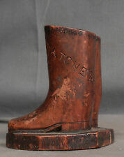 Signed dated Folk Art Carving Riding Boots Loy Wilson 1899 Match Holder AS IS