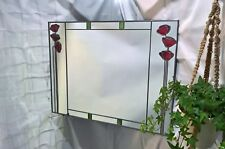 61x41cm Poppies Double Stained Glass effect mirror Handmade in the UK mackintosh