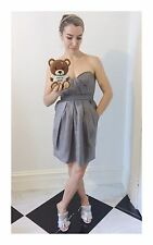 Women's Designer Foley & Cotinna Strapless Silver Mini Cocktail Dress Size Small
