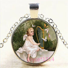 Baby Angel Cabochon Silver/Bronze/Black/Gold Glass Chain Pendant Necklace #6791