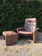 1970's De Sede Reclining Armchair And Stool