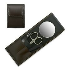 Mont Bleu 3-piece Manicure Set with Mirror & Glass Nail File Brown Leather Case