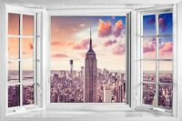 3D Effect Window Bay Empire State NYC New York Sticker Wall Vinyl GA2-193