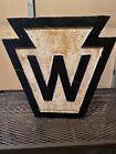 Pennsylvania Railroad Whistle Post Sign. ALL ORIGINAL CAST IRON.
