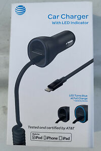 NEW AT&T Apple Car charger iPhone X 8 7 6 12 13 XR iPad Lightning Extra USB Port