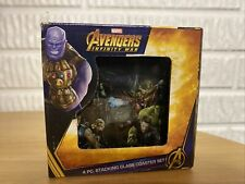 Avengers Infinity War 4pc Stacking Glass Coaster Set NIB Marvel Gear and Goods