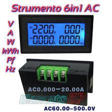 Voltmetro 60 500V AC Amperometro 20A Wattmetro Fattore di potenza Hz Frequenza