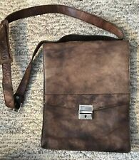 Vintage Modell Gold Pfeil Germany Brown Leather Satchel Crossbody Purse Lock